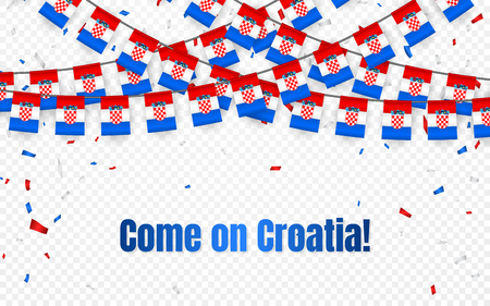 Croatia garland flag with confetti on transparent background, Hang bunting for celebration template banner, Vector illustration.