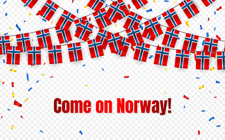 Norway garland flag with confetti on transparent background, Hang bunting for celebration template banner, Vector illustration. Illustration