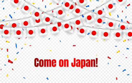 Japan garland flag with confetti on transparent background, Hang bunting for celebration template banner, Vector illustration. Vettoriali