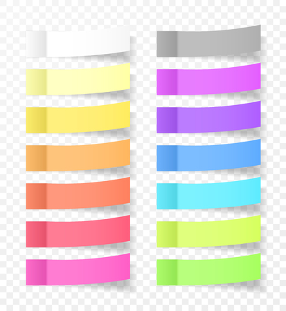 Sticky Paper Notes with Shadow Effect. Blank Color Memo Note Stickers for Posting Isolated on Transparent Background. Vector Illustration.