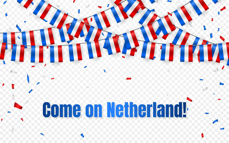 Netherland flags garland on transparent background with confetti. Hang bunting for independence Day celebration template banner, Vector illustration. Illustration