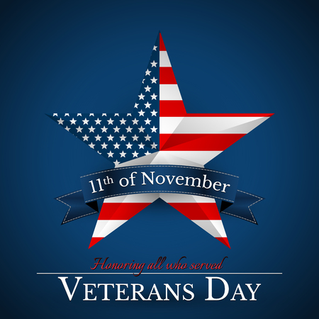 Veterans Day of USA with star in national flag colors american flag. Honoring all who served. Vector illustration.