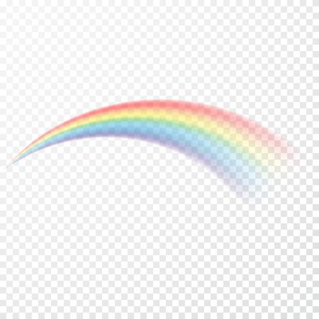 Arc en ciel transparent. Illustration vectorielle. Raibow réaliste sur fond transparent. Vecteurs