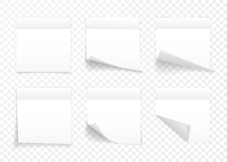 Set of white sheets of note paper isolated on transparent background. Sticky notes. Vector illustration. Vectores