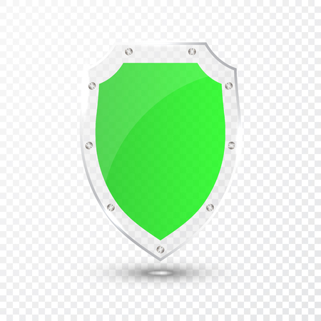 Transparent green glass shield icon on transparent background. Vector illustration. Illustration