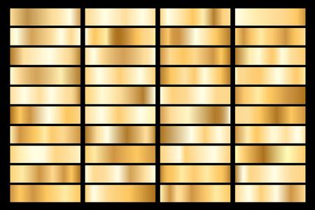 Collection de dégradé métallique doré. Assiettes brillantes à effet or. Illustration vectorielle.