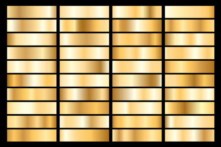 Collection of golden metallic gradient. Brilliant plates with gold effect. Vector illustration.