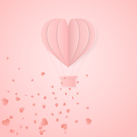 Happy valentines day retro invitation card template with origami paper hot air balloon in heart shape. Pink background. Vector illustration. Illustration