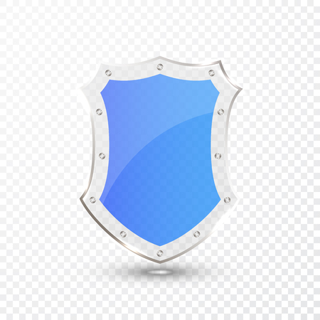 Transparent blue glass shield icon on transparent background. Vector illustration. 일러스트
