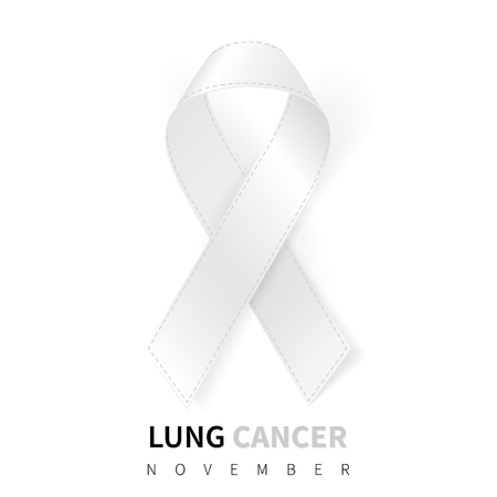 Lung Cancer Awareness Month. Realistic White ribbon symbol. Medical Design. Vector illustration.