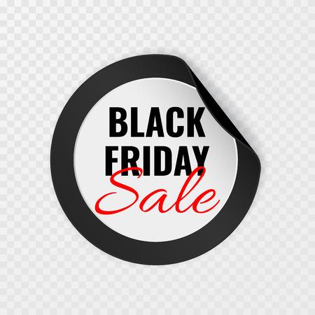 Black Friday sale black round sticker with curled corners on transparent background, vector illustration. Illustration