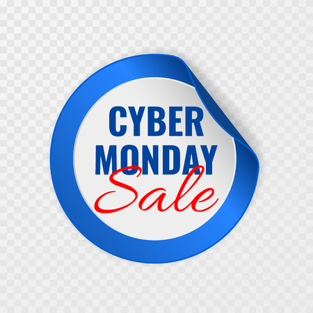 Cyber Monday sale black round sticker with curled corners on transparent background, vector illustration.
