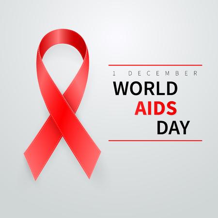 World aids day symbol, 1 december. Realistic red ribbon symbol. Medical Design. Vector illustration.