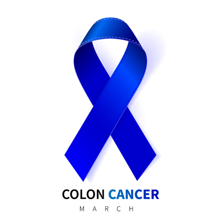 Colorectal, Colon Cancer Awareness Month. Realistic Dark Blue ribbon symbol. Medical Design. Vector illustration.
