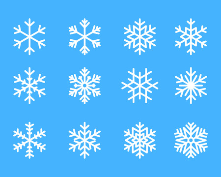 snowflake winter set of white isolated icon silhouette on blue background vector illustration.