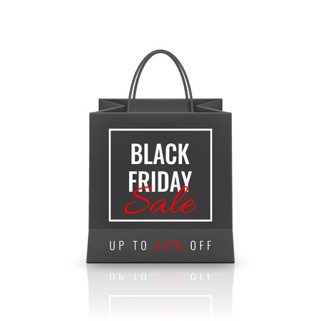 Black Friday Sale. Realistic Paper shopping bag with handles isolated on white background. Vector illustration.