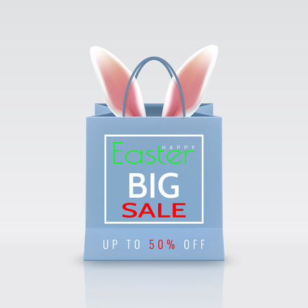 Happy Easter Sale. Realistic Paper shopping bag with handles isolated on white background. Vector illustration.