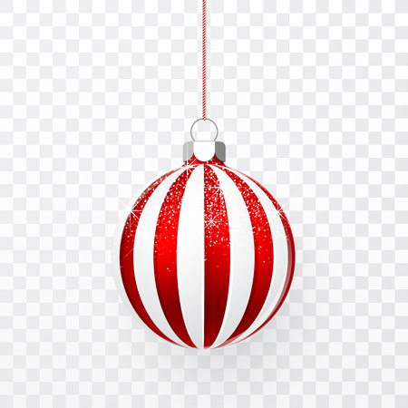 Red Christmas ball with snow effect. Xmas glass ball on transparent background. Holiday decoration template. Vector illustration.