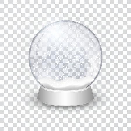 Boule à neige boule réaliste nouvel an objet de Noël isolé sur fond transparent avec ombre, illustration vectorielle.