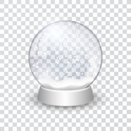 snow globe ball realistic new year chrismas object isolated on transperent background with shadow, vector illustration. Vettoriali