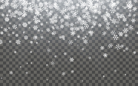 Christmas snow. Falling snowflakes on dark background. Snowfall. Vector illustration. Illustration