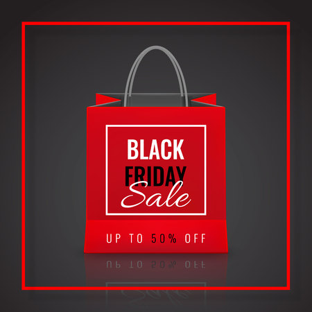 Black Friday Sale. Realistic Paper shopping bag with handles isolated on dark background. Vector illustration.