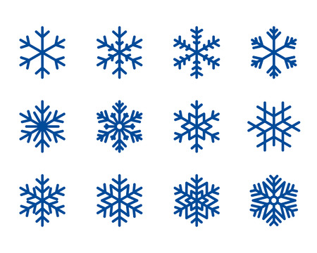 snowflake winter set of blue isolated icon silhouette on white background vector illustration. Illustration