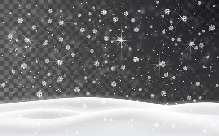 Christmas falling snow vector isolated on dark background. Snowflake transparent decoration effect. Xmas snow flake pattern. Magic white snowfall texture. Winter snowstorm backdrop illustration. Ilustração