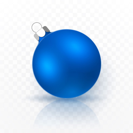 Blue Christmas ball. Xmas glass ball on transparent background. Holiday decoration template. Vector illustration.
