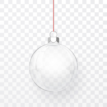 Glass transparent Christmas ball. Xmas glass ball on transparent background. Holiday decoration template. Vector illustration. Illustration
