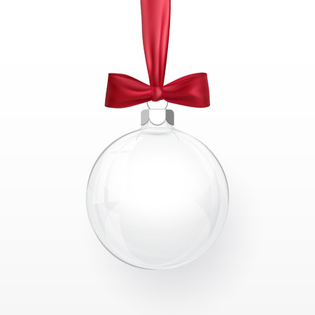 Glass transparent Christmas ball with red bow. Xmas glass ball on white background. Holiday decoration template. Vector illustration. Ilustração