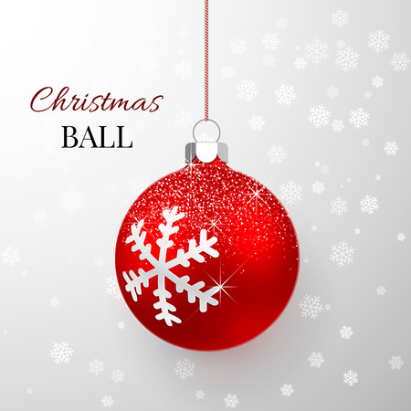 Red Christmas ball with snow effect. Xmas glass ball. Holiday decoration template. Vector illustration.