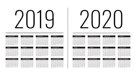 Mockup Simple calendar Layout for 2019 and 2020 years. Week starts from Monday.