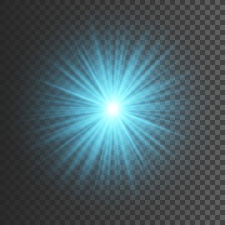 Transparent glow light effect. Star burst with sparkles. Blue glitter. Vector illustration.