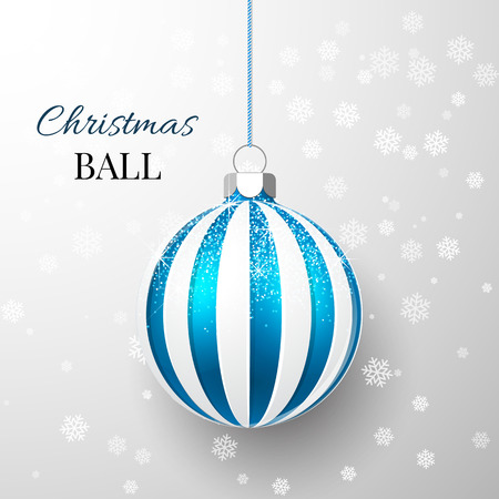 Blue Christmas ball with snow effect. Xmas glass ball on transparent background. Holiday decoration template. Vector illustration.