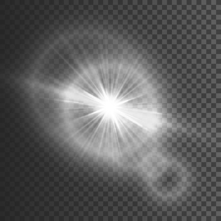 Transparent glow light effect. Star burst with sparkles. White glitter. Vector illustration.