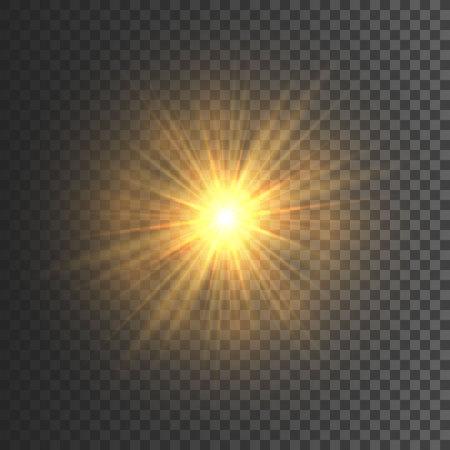 Transparent glow light effect. Star burst with sparkles. Gold glitter. Vector illustration.