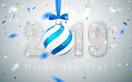 Happy New Year 2019, silver numbers design of greeting card,  falling shiny confetti, Xmas ball with blue bow, Vector illustration.