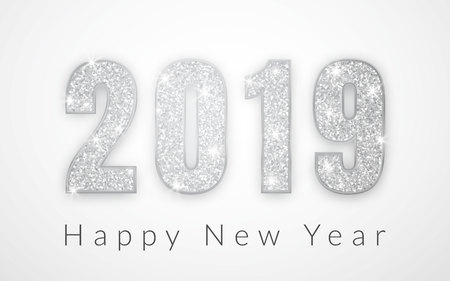 Happy New Year 2019, silver numbers design of greeting card, Vector illustration. Ilustracja