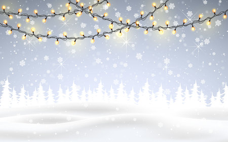 Winter is coming. Christmas, snowy night woodland landscape with falling snow, firs, light garland, snowflakes for winter and new year holidays. Xmas winter background. 向量圖像