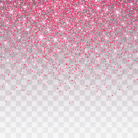 Pink glitter sparkle on a transparent background. Vibrant background with twinkle lights. Vector illustration.