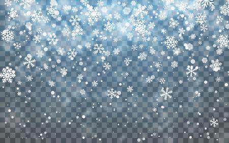 Christmas snow. Falling snowflakes on dark background. Snowfall. Vector illustration. Stock Illustratie