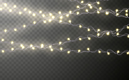 Xmas Color garland, festive decorations. Glowing christmas lights transparent effect decoration on dark background. Vector illustration.