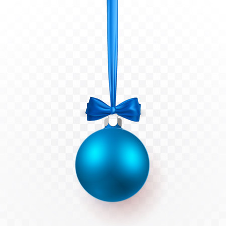 Blue Christmas ball with blue bow. Xmas glass ball on transparent background. Holiday decoration template. Vector illustration. 일러스트