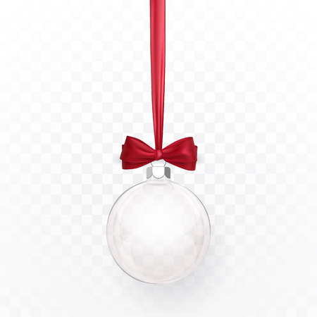 Glass transparent Christmas ball with red bow. Xmas glass ball on white background. Holiday decoration template. Vector illustration.