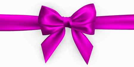 Realistic pink bow. Element for decoration gifts, greetings, holidays. Vector illustration. Illustration