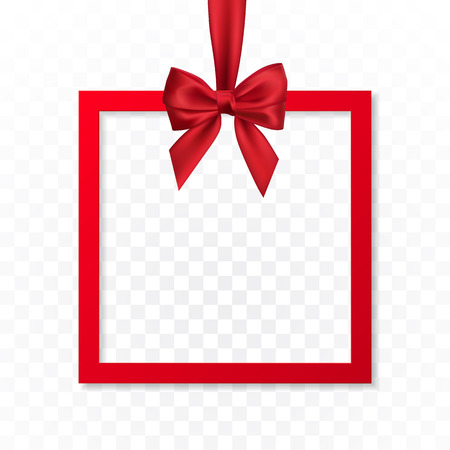 Bright holiday gift box frame banner hanging with red ribbon and silky bow on transparent background. Vector illustration. Ilustração