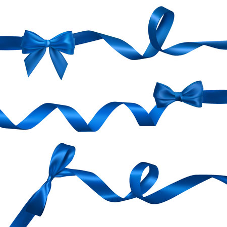 Set of Realistic blue bow with long curled blue ribbon. Element for decoration gifts, greetings, holidays, Valentines Day design. Vector illustration.