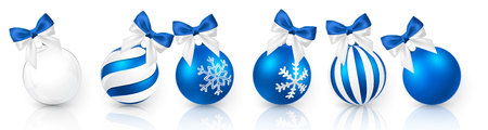 Transparent and Blue Christmas ball with snow effect and blue bow set. Xmas glass ball on white background. Holiday decoration template. Vector illustration. Illustration