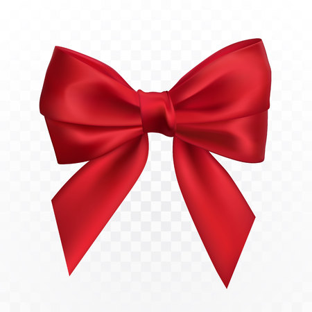 Realistic red bow. Element for decoration gifts, greetings, holidays. Vector illustration. Illustration